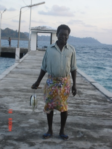Nao junior returning after his morning session of fishing at Strait Island jetty