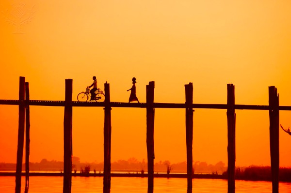 U Bein Bridge Transportation at Sunset